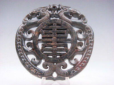 Old Nephrite Jade Stone 2 Sides Carved LARGE Pendant 2 Dragons Bless #11171808