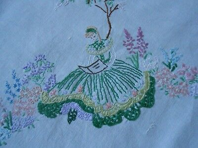 Beautiful Cotton Tablecloth Hand Embroidered With Crinoline Ladies