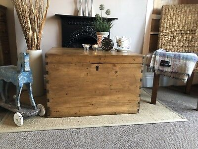 Fabulous Antique Victorian Vintage Old Pine Chest / Wooden Trunk / Blanket Box