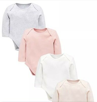 New Mini V By Very Baby Girl 4 Pack Long Sleeved Bodysuits 6-9 Months