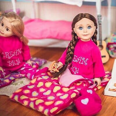 18 Inch  Doll Sleeping Bag Bed + Pajama Outfit Clothes fits American Girl