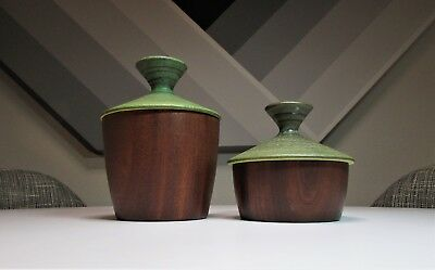 SET 2 VINTAGE Mid Century Modern RAYMOR Pottery Wood LIDDED JARS Stash BOX