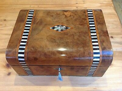 Antique Domed walnut mother of pearl sewing/jewellery box