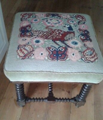 Victorian Square Stool Lavish Woolwork Upholstery Turned & Ringed Legs Footstool