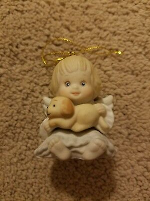 Holly Babes Enesco Angel with Puppy Ornament 1986