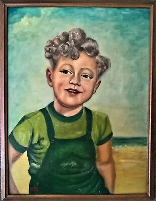 ANTIQUE 1950's OIL PAINTING OF A VINTAGE DRESSED YOUNG BOY WITH CURLY HAIR
