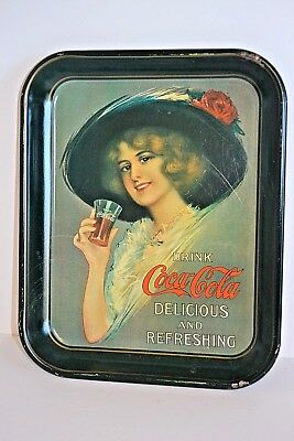 Coca-Cola 1913 Hamilton King Girl Metal Serving Tray Party Platter Reproduction