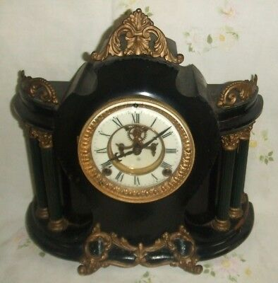 "EXTRA RARE and very HTF ANSONIA ""QUIRINAL"" mantle clock = AWESOME = running fine"
