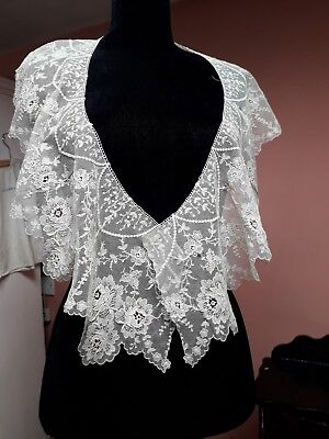 Antique Lace Bertha Collar Shawl Roses Floral Ivory Cotton Vintage Original