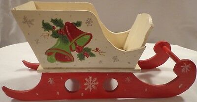 Vintage Santa Claus Christmas Sleigh Wood Wooden Hand Painted Made Signed 1954