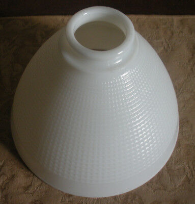 """Vintage White Milk Glass Lamp Shade Waffle Style Torchiere 2 1/4"""" Hold Opening"""
