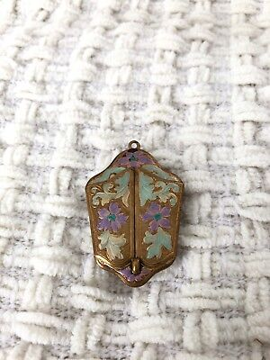 Vintage Art Nouveau Perfume Photo Locket Floral Double Door Pendant Lightweight
