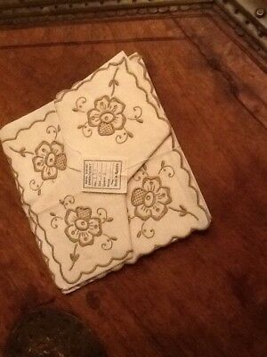 Six Hand Embroidered in Madeira Table Napkins. New. Cream coloured.