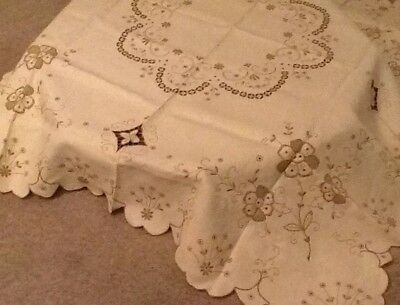 Madeira hand Embroidered Tablecloth. New. Cream With Beige Embroidery