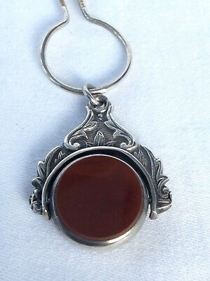 C19th CHESTER SILVER WATCH FOB & SILVER CHAIN