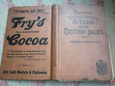 1898 Ed of Bacon's Cycling + Touring Pocket Atlas British Isles 31 Colour Maps
