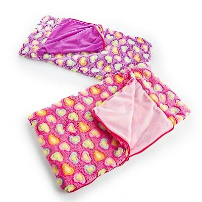 TWO 18 Inch Doll SLEEPING BAG (Pink & Green)  Fits American Girl Accessories