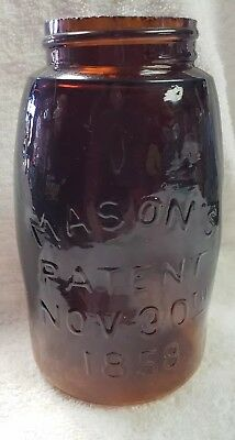 Midget Fruit Jar  Dream Series AMBER Mason's Patent Nov 30th 1858 - 971 Bottom