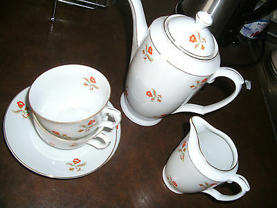 Art Deco Kaffeeservice Teeservice Goldrand Tete a Tete 20/30er 6-tlg 2 Pers.
