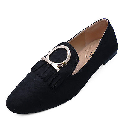 Ladies Black Slip-On Flat Loafers Casual Comfy Smart Work Shoes Pumps Sizes 3-8
