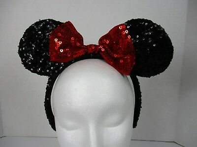 Disney Parks Minnie Mouse Ears Headband Sequin Glittery Black w Red Bow Adult