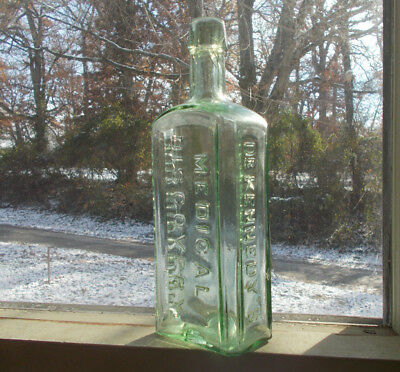 1870s LIGHT GREEN DR.KENNEDY'S MEDICAL DISCOVERY ROXBURY,MASS BOTTLE DAMAGED