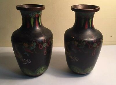 """A Pair Of Antique Chinese Cloisonne Dragon Vases 5.5"""""""