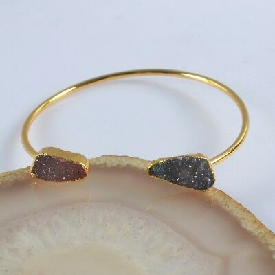 Defective Blue & Pink Agate Druzy Geode Bangle Gold Plated B073205
