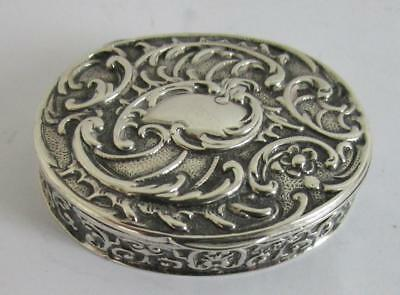 Antique Silver Pill Snuff Box S.B. Landeck Dutch Ornate Repousse Chester 1901