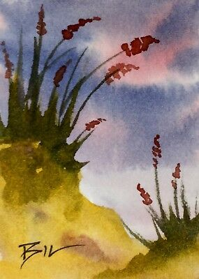 ACEO Original Art Painting by Bill Lupton - Flowers in the Sand