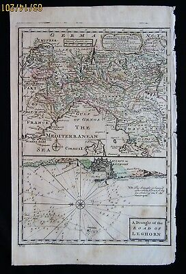 Accurate Map Of Northern Italy Leghorn Sea Road 1747 Cities Lakes  Emanuel Bowen