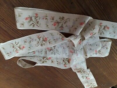 "Antique Silk Ribbon Roses 92"" Victorian Vintage Original"