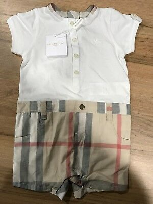 Baby Boys Burberry Romper 3 - 6 Months Designer Babies All In One BRAND NEW
