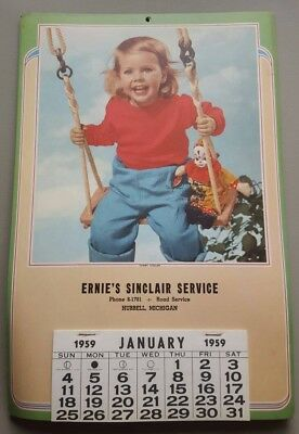 1959 Sinclair Service Station Calendar - Hubbell, MI - Check the backstory!