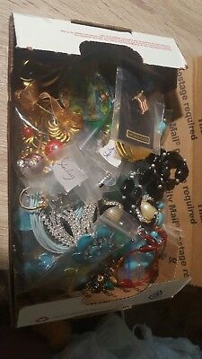 Vintage Estate Jewelry Lot Sterling Silver Brooches Earrings Signed Box Full