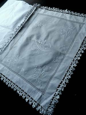 "Very pretty antique white boudoir sachet - lace, whitework & monogram ""C"""