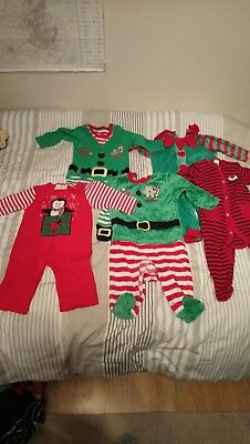 Christmas sleepsuits bundle 3-6 mths. Elf santa baby gro