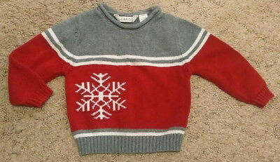 George Toddler Boy 24 Months Winter Holiday Sweater Snowflake Red Christmas