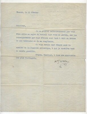H.G. WELLS Father of Sci-Fi c.1920s-30s TYPED LETTER SIGNED in FRENCH