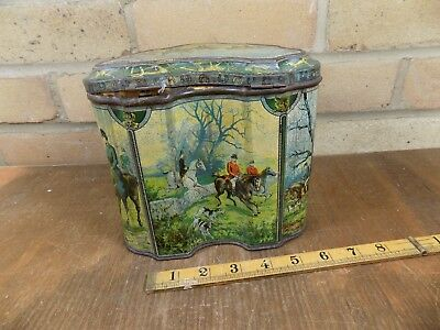 Huntley & Palmers Fox Hurt Horse Image Hunting Biscuit Tin c1900s