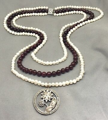 Garnet & pearl handmade beaded necklace with Art Deco antique pendant & clasp