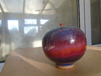 stunning signed Chinese studio pottery bud vase with awesome colours & pattern