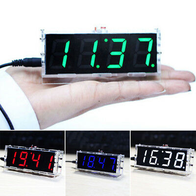 DIY Digital LED Electronic Clock Kit Light Control Temperature Date Time Display