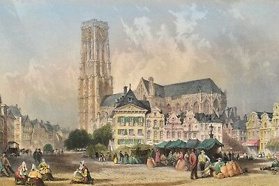 Cathedral and Market Place Mechlin Mecheln 1840 Original Antique Print Allom
