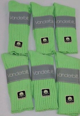 VINTAGE 1980's Lot of 6 Pairs Cotton Blend LIME GREEN Crew SOCKS - NOS