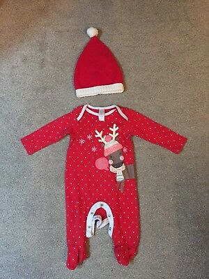 Girls Christmas Mini Mode Sleepsuit Age 3-6 Months & Santa Hat - Great Condition