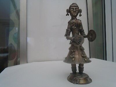 very unusual Indian antique white metal dancing figure with symbols   WOW LOOK