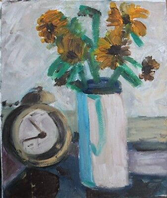 Still Life With Flowers And Alarm Clock By Brian Ballard