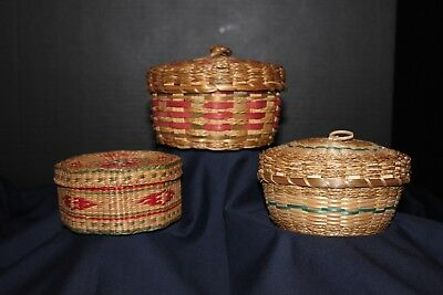 vintage Indian, native american baskets with lids