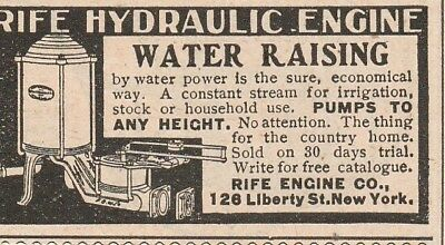 Vintage 1903 ad~ RIFE HYDRAULIC ENGINE CO., New York~ Household Water Pump